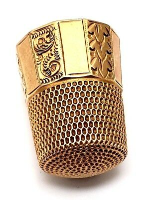Antique 14 Karat Yellow Gold Sewing Thimble By Simons Brothers.
