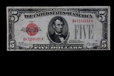 $5 1928 large red seal US Note B47156090A five dollar, plain series, FREE SHIP.