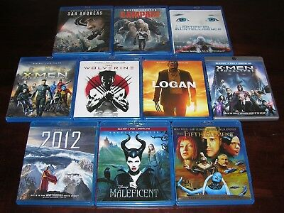 Lot of 10 Rampage San Andreas X-Men Logan Collection Blu Ray Movies And Others