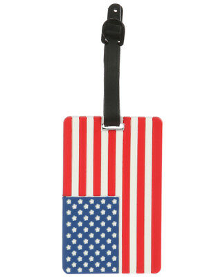 Luggage Bag Tag American Flag ID Travel Backpack Suitcase Rubber 6""