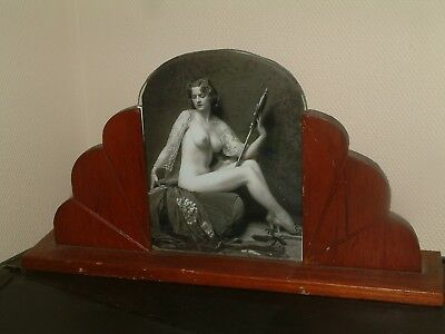 Wooden Sunray Pattern Art Deco Photo Frame And Fab B/w Nude Flapper Girl Print