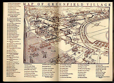 vtg 1947 Henry Ford Greenfield Village museum book Map history Clinton Inn