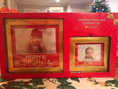 Babys First Christmas Picture Frame And Ornament Set New - Lil Peach