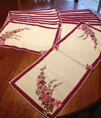 SET - Superb Vintage Linen Placemats (8) Napkins (8) Table Runner - 1940s 1950s