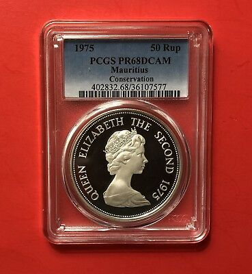 MAURITIUS-1975-UNC 50 Rupees- CONSERVATION,SILVER COIN,GRADED BY PCGS PR68DCAM.