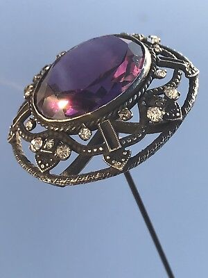 Exceptional Antique Victorian Sterling Silver Faceted Amethyst Rhinestone Hatpin
