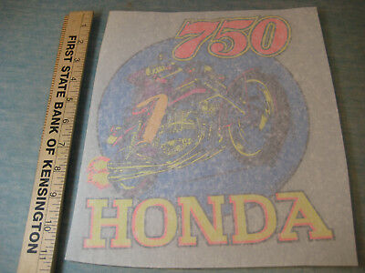 Honda 750 Motorcycle 1974 Old Stock Iron-On Transfer, NOS by Roach, Colorful!