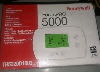 Honeywell FocusPRO 5000 Non-Prog Thermostat 2H/1C HP or 2C/2H Conv TH5220D1003