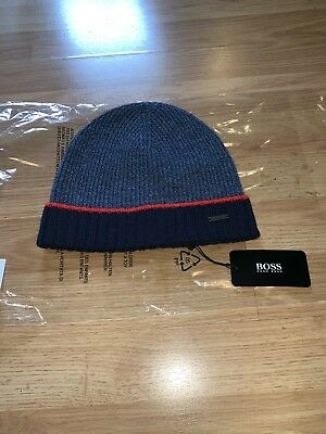 34fb563d New Mens Hugo Boss Logo Cuffed Rib Knit Wool Winter Beanie Hat Blue Red  Stripe