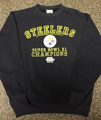 Pittsburgh Steelers Super Bowl XL 40 LEE Crewneck Sweatshirt Sz Medium Black NFL