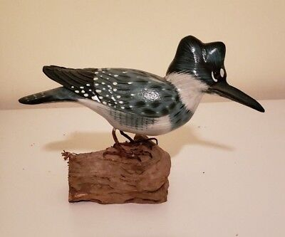 Carved and Painted Belted Kingfisher on mount. 5'' tall