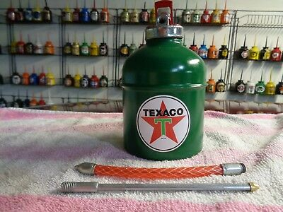 TEXACO Motor OIL CAN Gasoline Station Gas Pump Spout BIG 1 QUART OLD Style Star