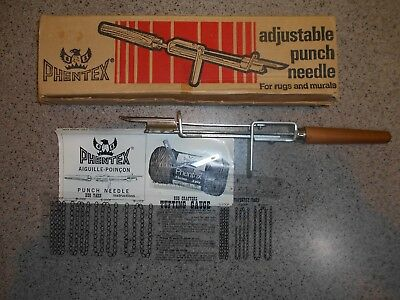 Phentex Adjustable Punch Needle for Rugs & Murals Instructions Gauge Blades Box