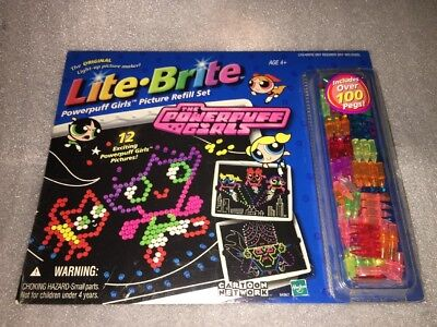 2002 Lite Brite Powerpuff Girls Picture Refill Set 12 Pictures Over 100 Pegs NEW