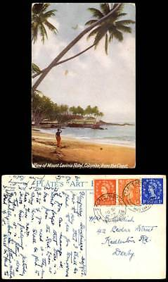 Ceylon 1957 Old Postcard View of Mount Lavinia Hotel Colombo View from The Coast