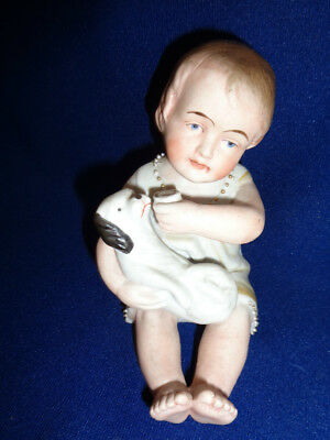 Antique Piano Baby Doll Figurine w/ Puppy Dog Cup Milk, Bisque Porcelain German