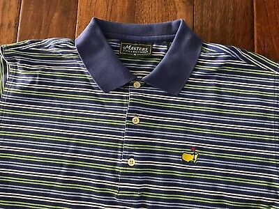 Masters Collection Augusta National Polo Shirt Striped Purple Medium Golf Tiger