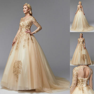 Gold Wedding Dresses.Vintage Champagne Wedding Dress Gold Lace Beading Sequin Bridal Gown Custom Size
