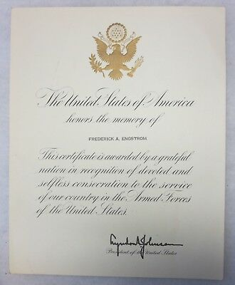 HONOR CERTIFICATE Sent to WW1 Army Veteran's Family by President Johnson in 1966