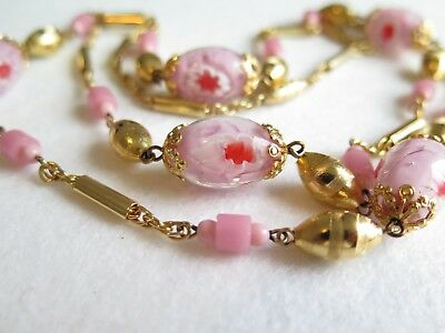 Vintage Pink Millefiori Glass Beaded Gold Tone Metal Necklace with Barrel Clasp
