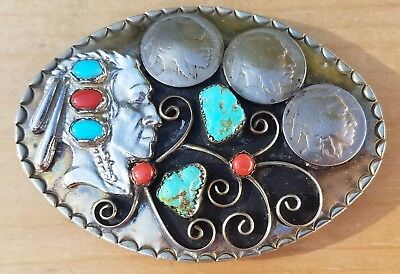 Estate Vintage Silver Tone Buffalo Nickel Niello Turquoise & Coral Belt Buckle
