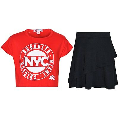 Kids Girls Tops NYC Red Crop Top & Double Layer Skater Skirt Set 7-13 Years