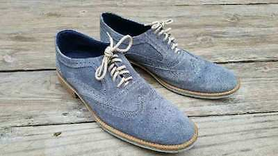 SIZE 9.5 Mens GIORGIO BRUTINI Oxford Mid BLUE Leather Suede Wingtip Shoes 658