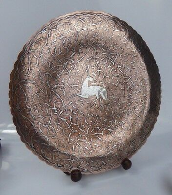 """Middle Eastern Antique Copper Charger Silver Inlay - Cairoware Islamic 11"""" Fine"""