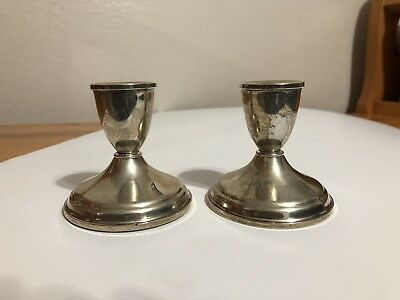 """Vintage Sterling Silver Candle Holder Pair (Weighted) 3-1/4"""" tall"""