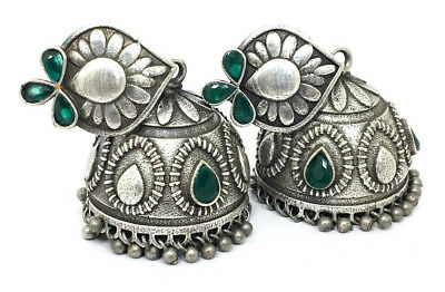 OXIDIZED SILVER JHUMKA Earrings Indian Jewelry Antique Victorian Ethnic  Stylish