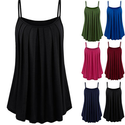 Womens Loose Camisole Sleeveless Strappy Cami Vest Swing Tank Tops Plus Size AU