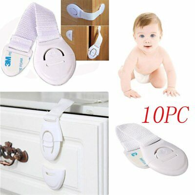 10pcs Cabinet Door Drawers Refrigerator Safety Plastic Lock For Child Kid USA