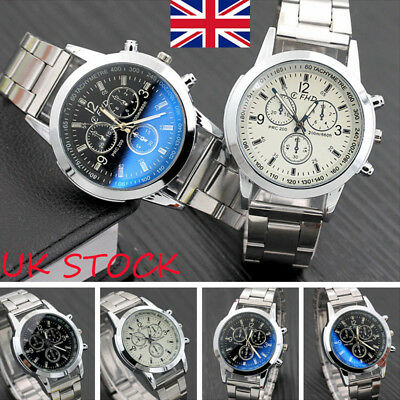 Men's Luxury Quartz Analog Business Stainless Steel Strap Band Wrist Watch Gift