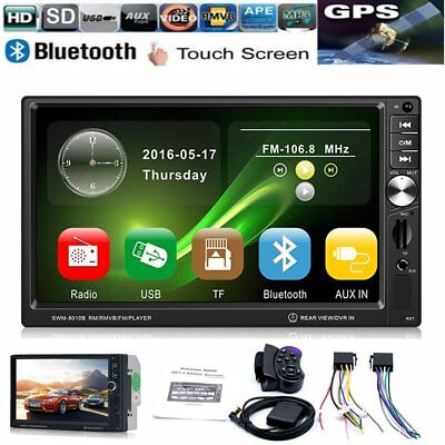 """GPS 7"""" 2 Din Bluetooth Touch Car MP5 Player USB/SD/FM Stereo Radio + Remote"""