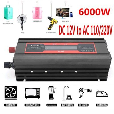 HOT 6000W Car Solar Power Inverters 12V DC to 110V/220V AC Sine Wave Converter