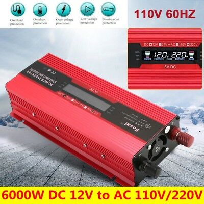 4000W/6000W DC12V To AC110V/220V Car Solar Power Inverter Converter Power Supply
