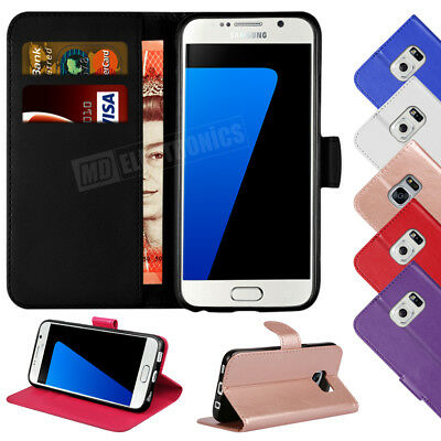 For Samsung Galaxy S7 Edge Luxury Genuine Real Leather Flip Wallet Case Cover
