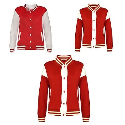 Kids Boys Girls Baseball Red Jacket Varsity Style Plain School Jacket Top 2-13Yr