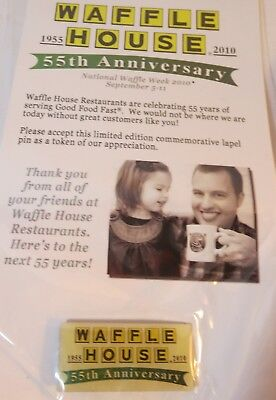 WAFFLE HOUSE 55th ANNIVERSARY LIMITED EDITION LAPEL PIN **NEW UNOPENED**
