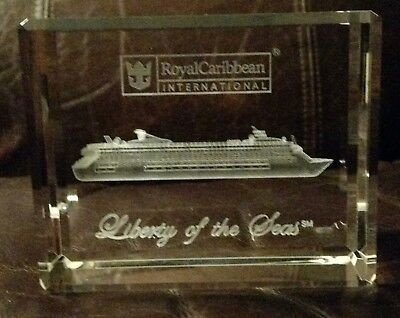 LIBERTY OF THE SEAS Royal Caribbean CRYSTAL GLASS PAPERWEIGHT brand new in box