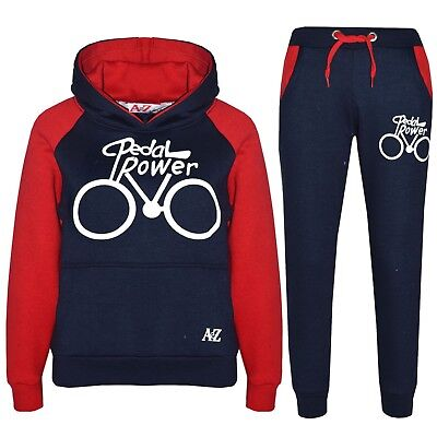 Kids Boys Tracksuit Navy Designer Pedal Power Top & Bottom Jogging Suit 5-13 Yr