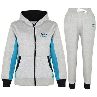 Kids Girls Tracksuit Grey Designer Pedal Power Zipped Top Bottom Jogging Suits