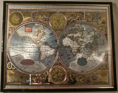 """Beautiful Vintage Metallic A New and Accurate Map of the World Framed 8"""" x 10"""""""