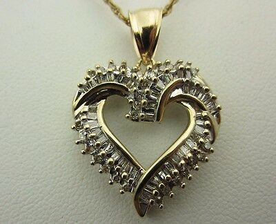 14K Yellow Gold Round and Baguette Heart Pendant 1.00 CT