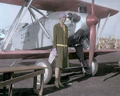 """AMELIA EARHART AVIATION PIONEER PILOT 1928 8x10"""" HAND COLOR TINTED PHOTOGRAPH"""