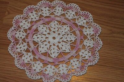New Hand Crocheted Doily - white pink ice Valentines