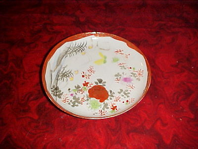 Antique Vintage Small Plate Collectible Japanese Scene -Flowers Plate