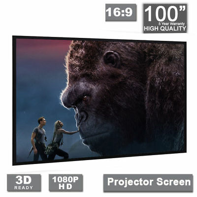 "100"" Inch Projector Projection Screen 16:9 White Matte 3D HD Home Cinema HD TR"