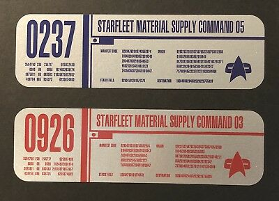 • Star Trek • Starfleet Container Labels • Red/Blue/Green Silver • Prop Replicas
