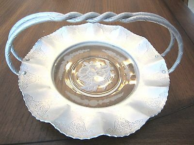 Vintage Round Aluminum tray w/glass inlay & embossed floral design